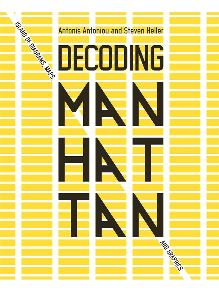 Cover of Decoding Manhattan shows a yellow street grid and the title of the book and authors